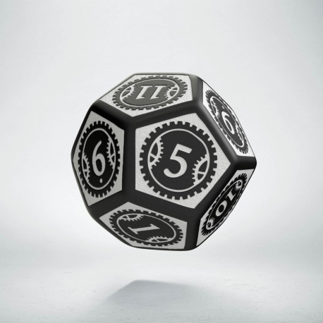 D12 Steampunk Clockwork Black & white Die
