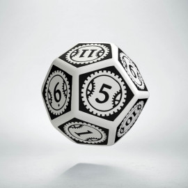 D12 Steampunk Clockwork White & black Die