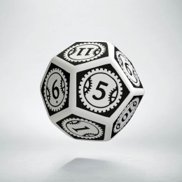 D12 Steampunk Clockwork White & black Die (1)