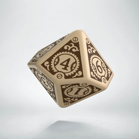 D10 Steampunk Clockwork Beige & brown Die
