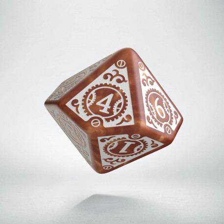 D10 Steampunk Clockwork Caramel & white Die