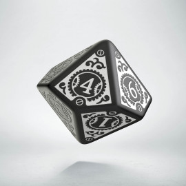 D10 Steampunk Clockwork Black & white Die