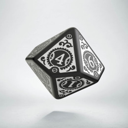 D10 Steampunk Clockwork Black & white Die (1)