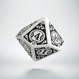 D10 Steampunk Clockwork White & black Die (1)