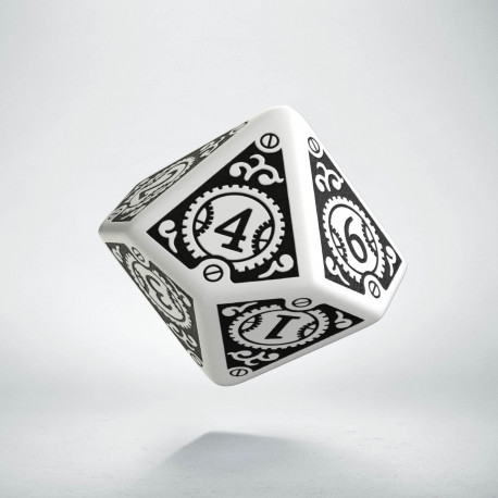 D10 Steampunk Clockwork White & black Die