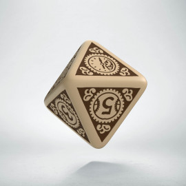 D8 Steampunk Clockwork Beige & brown Die