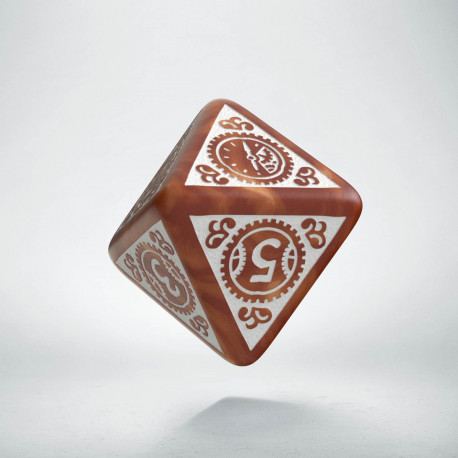 D8 Steampunk Clockwork Caramel & white Die