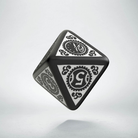 D8 Steampunk Clockwork Black & white Die