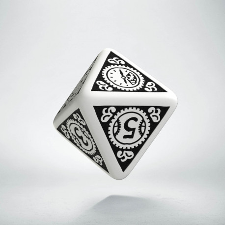 D8 Steampunk Clockwork White & black Die
