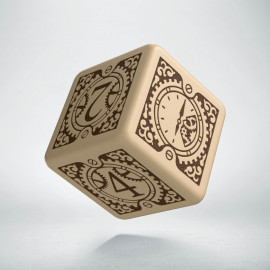 D6 Steampunk Clockwork Beige & brown Die