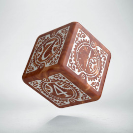D6 Steampunk Clockwork Caramel & white Die