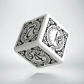 D6 Steampunk Clockwork White & black Die