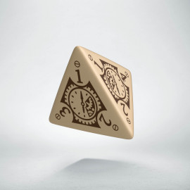 D4 Steampunk Clockwork Beige & brown Die