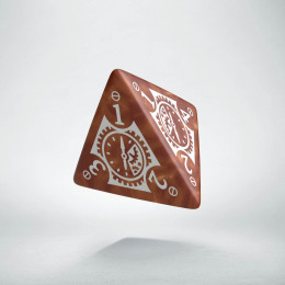 D4 Steampunk Clockwork Caramel & white Die (1)