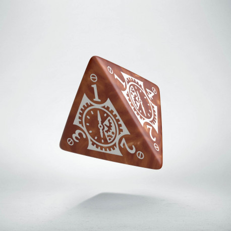 D4 Steampunk Clockwork Caramel & white Die