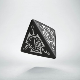 D4 Steampunk Clockwork Black & white Die
