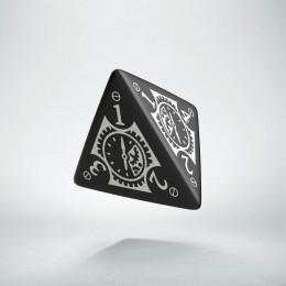D4 Steampunk Clockwork Black & white Die (1)