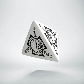 D4 Steampunk Clockwork White & black Die