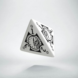 D4 Steampunk Clockwork White & black Die (1)