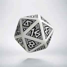 D20 Dwarven White & black Die (1)