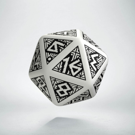 D20 Dwarven White & black Die