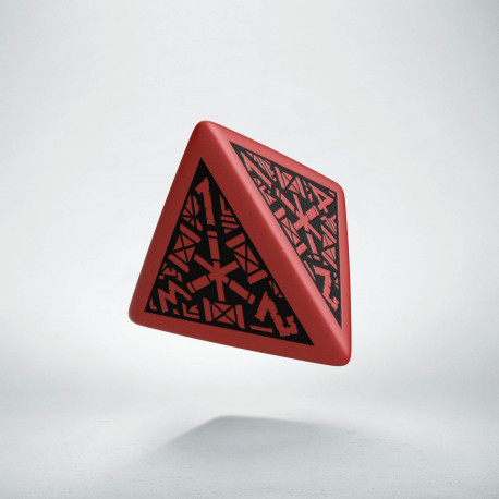 D4 Dwarven Red & black Die