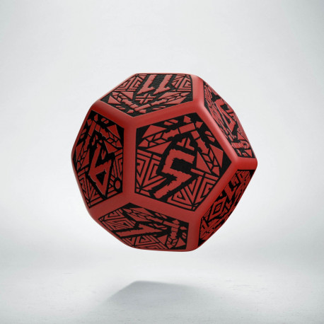 D12 Dwarven Red & black Die