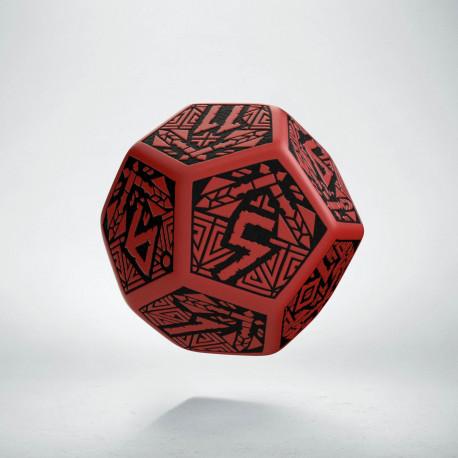 D12 Dwarven Red & black Die