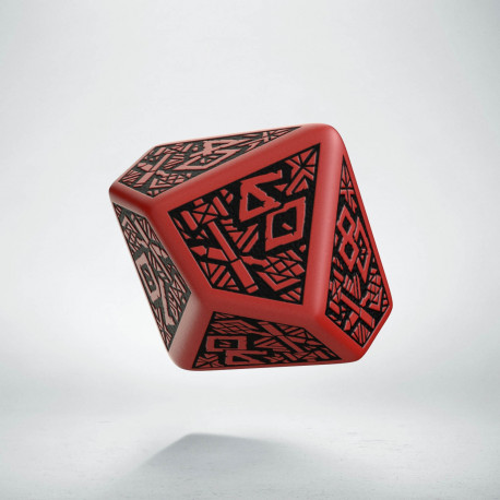 D100 Dwarven Red & black Die