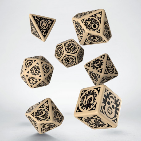 Adventures in the East Mark Beige & black Dice Set (7)