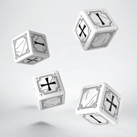 Antique Fudge White & black 4D6 Dice (4)