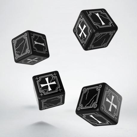 Antique Fudge Black & white 4D6 Dice (4)