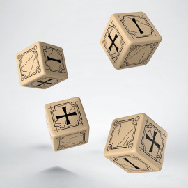 Antique Fudge Beige & black 4D6 Dice (4)