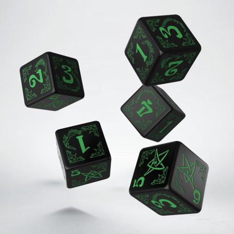 Arkham Horror Black & green 5D6 Dice (5)