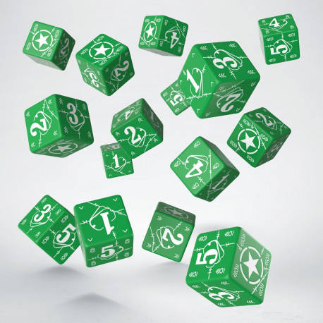 Battle USA Green & white D6 Dice (15)