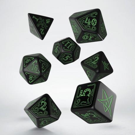 Call of Cthulhu Dice Black & green Dice Set (7)