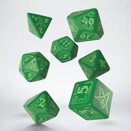 Kości RPG Zew Cthulhu Zielone-fosforyzujące (7)