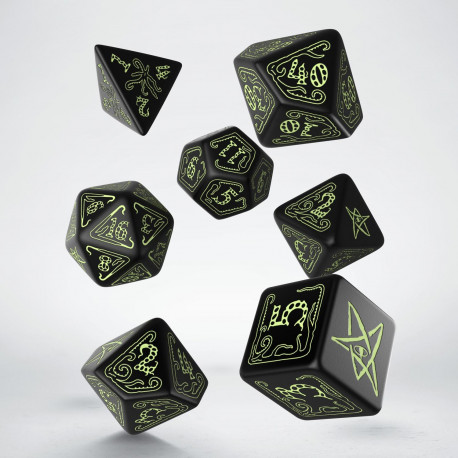 Call of Cthulhu Dice Black & glow-in-the-dark Dice Set (7)