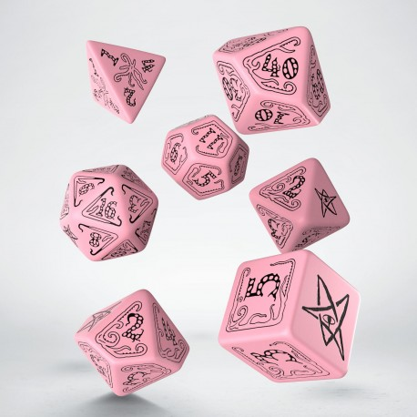Call of Cthulhu Pink & black Dice Set (7)
