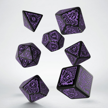 COC Horror on the Orient Express Black & purple Dice Set (7)