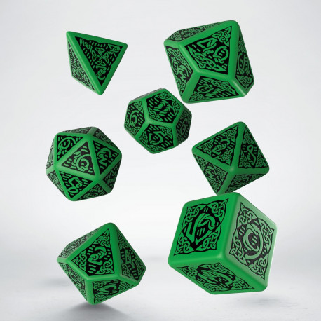 Celtic 3D Revised Green & black Dice Set (7)