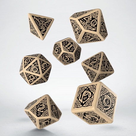 Celtic 3D Revised Beige & black Dice Set (7)