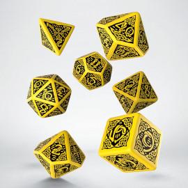 Kości RPG Celtyckie 3D Żółto-czarne (7)