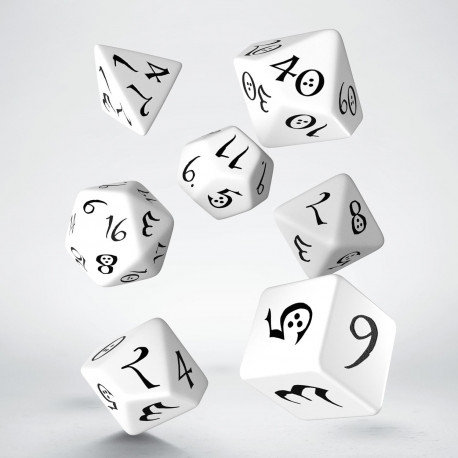 Classic RPG White & black Dice Set (7)