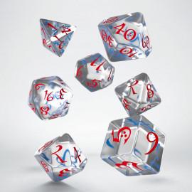 Kości RPG Klasyczne Przejrzysto-niebiesko czerwone (7)