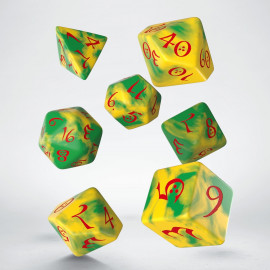 Classic Yellow & Green-Red Dice Set (7)