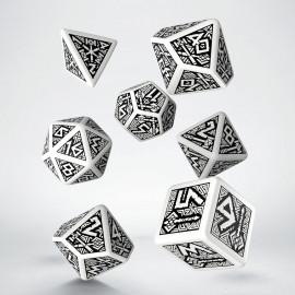 Kości RPG Krasnoludzkie Biało-czarne (7)
