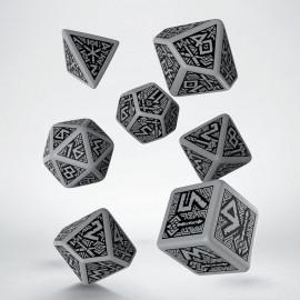 Kości RPG Krasnoludzkie Szaro-czarne (7)