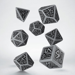 Dwarven Gray & black Dice Set (7)