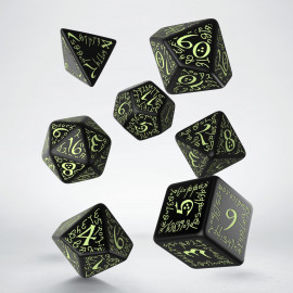 Elvish Black & glow-in-the-dark Dice Set (7)
